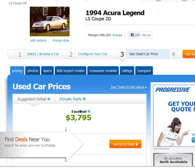 1990 Acura Legend Blue Book Value
