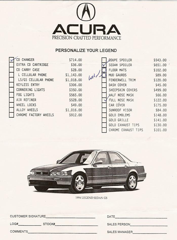 acura accessories  1994 vs  2014