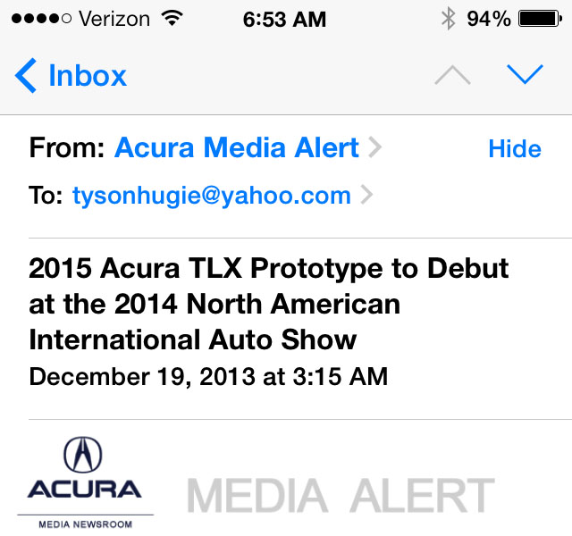 2015 Acura TLX Sedan To Debut In Detroit