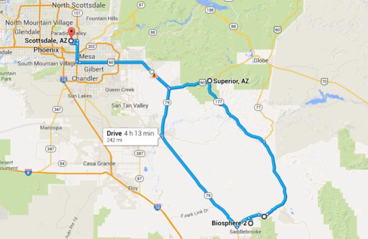 Map Of Oracle Arizona.Ilx Drive Biosphere 2 In Oracle Arizona Drivetofive
