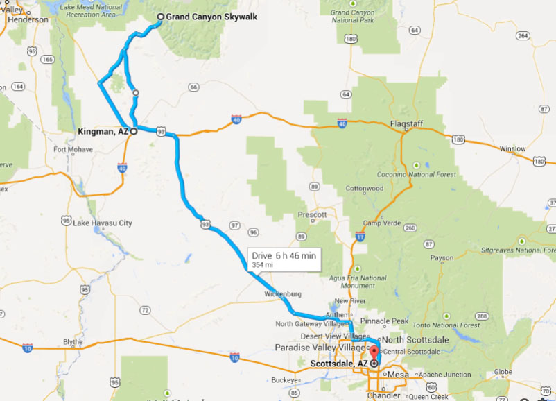 Distance from grand canyon to phoenix