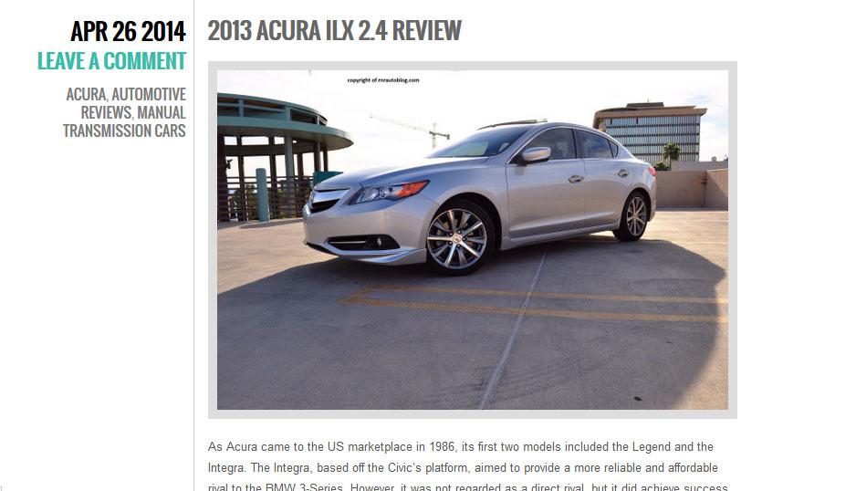 ILX Review: RNR Automotive Blog | drivetofive