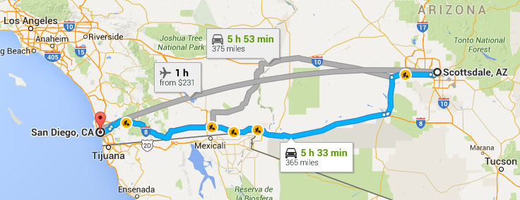 Distance between San Diego, CA and Phoenix, AZ